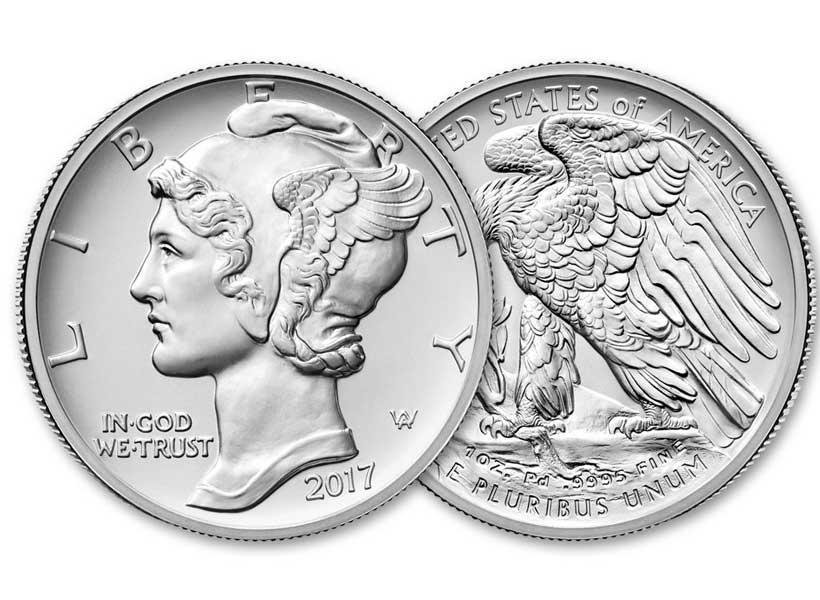 سکه های ضرب شده از جنس پالادیوم